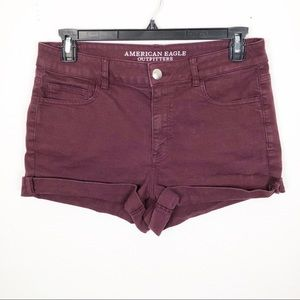 American Eagle High Rise Shortie Purple Shorts